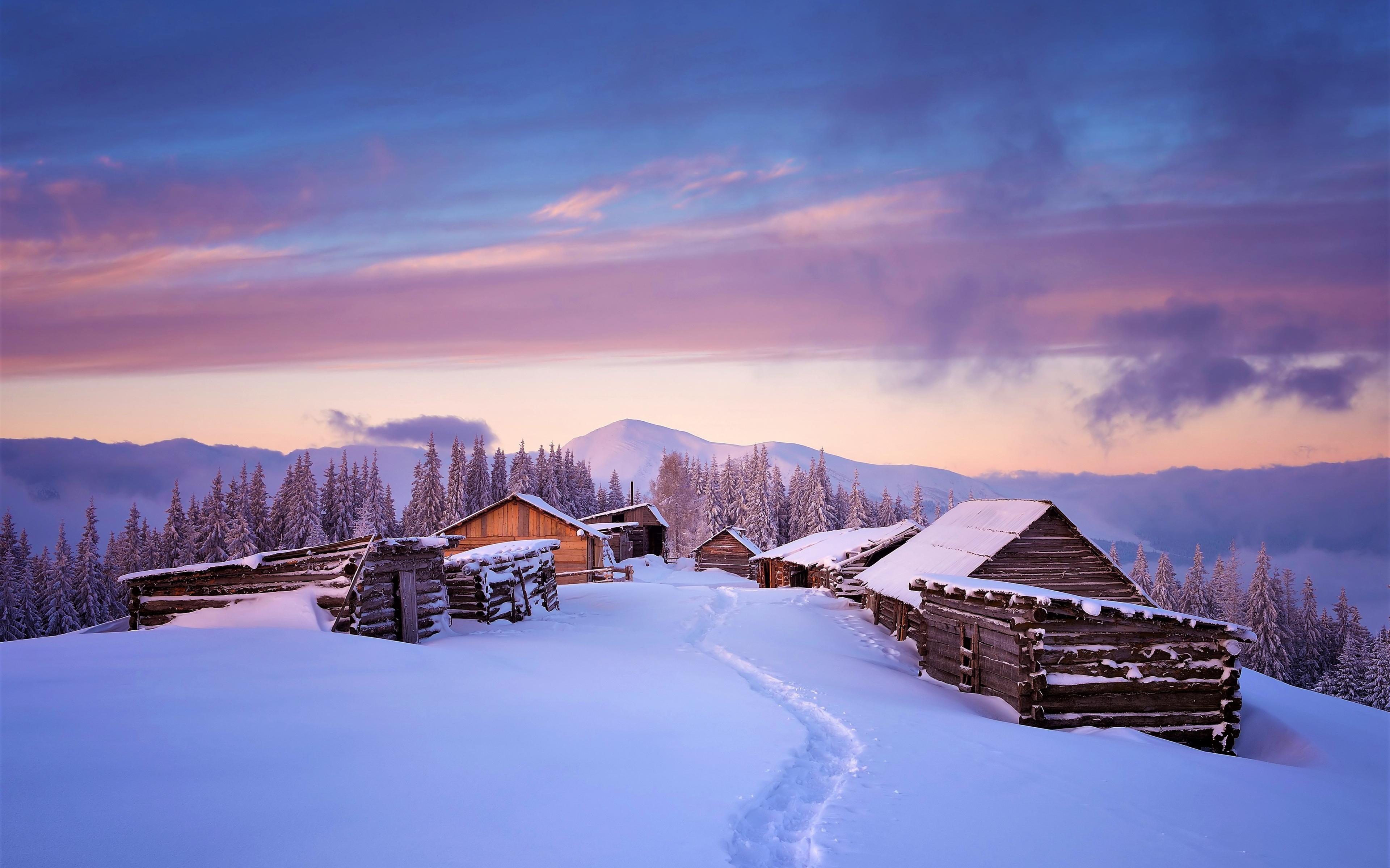 Download 3840x2400 wallpaper houses, winter, landscape ...