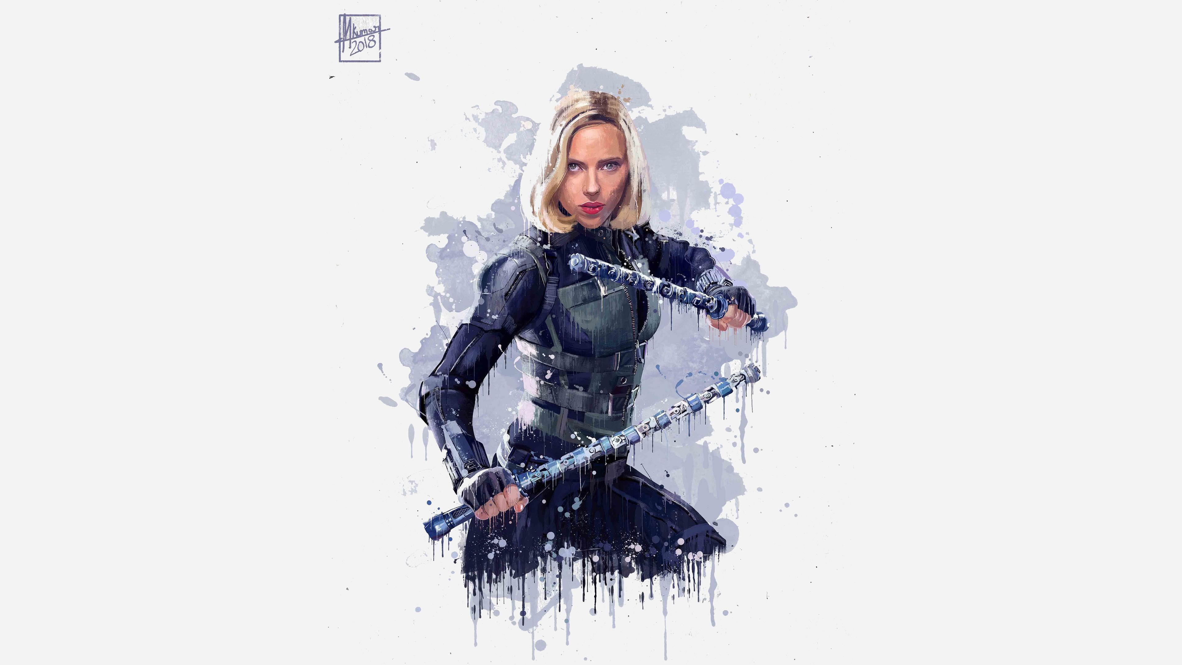 Black widow, Avengers: infinity war, artwork, 2018, 3840x2400 wallpaper
