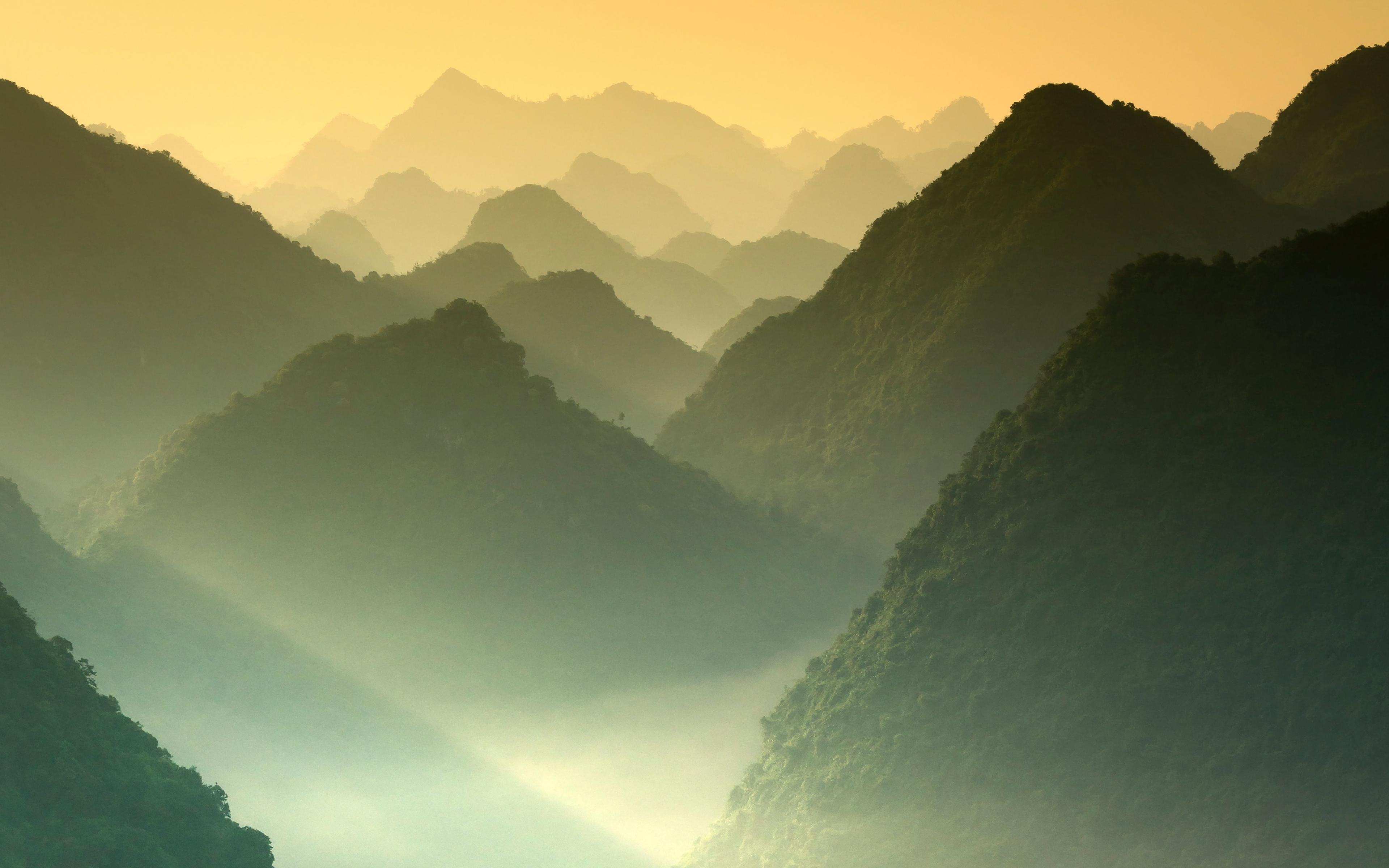 Download 3840x2400 Wallpaper Mountains Sunrise Nature