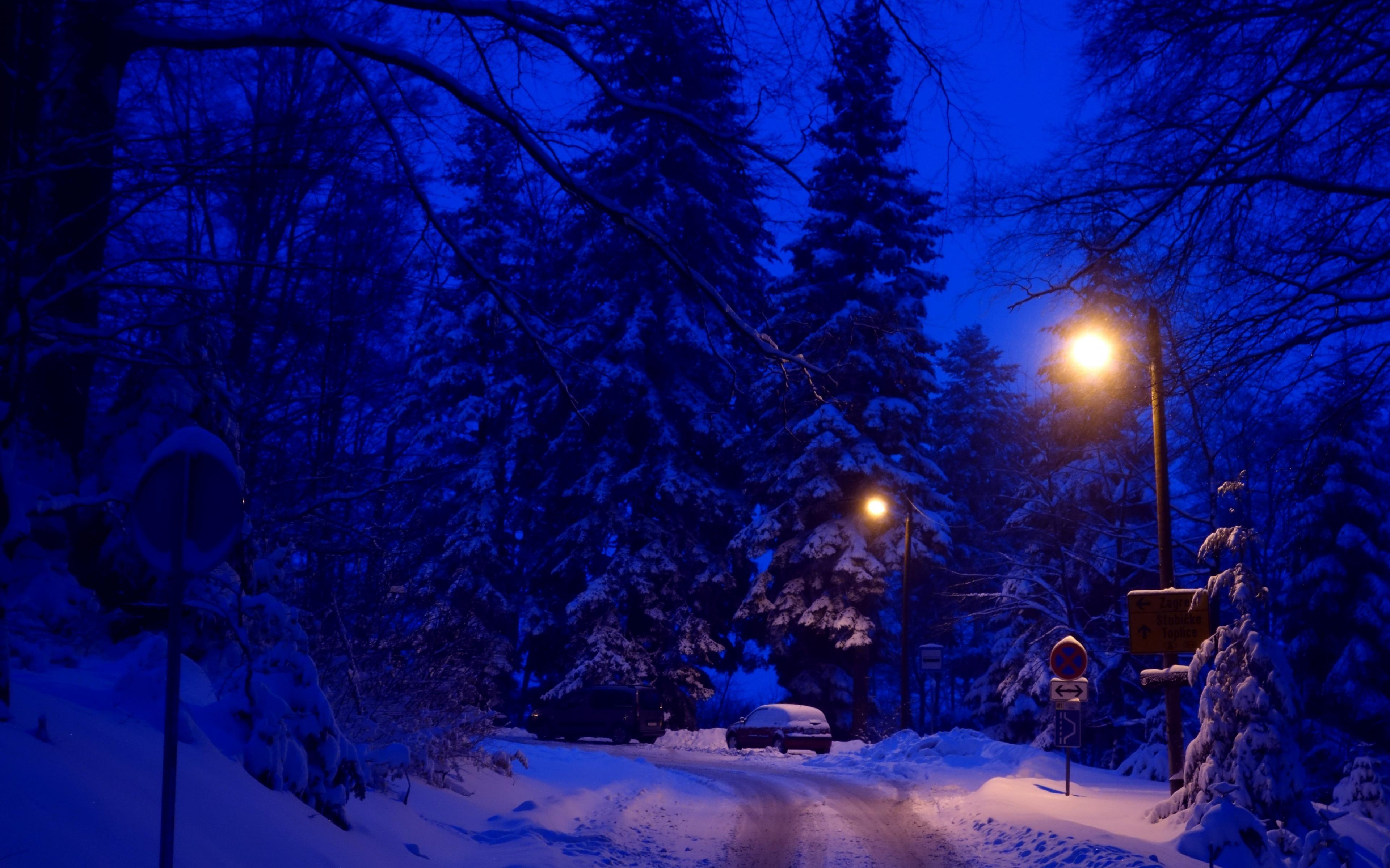 Download 3840x2400 Wallpaper Winter Night Street Lights