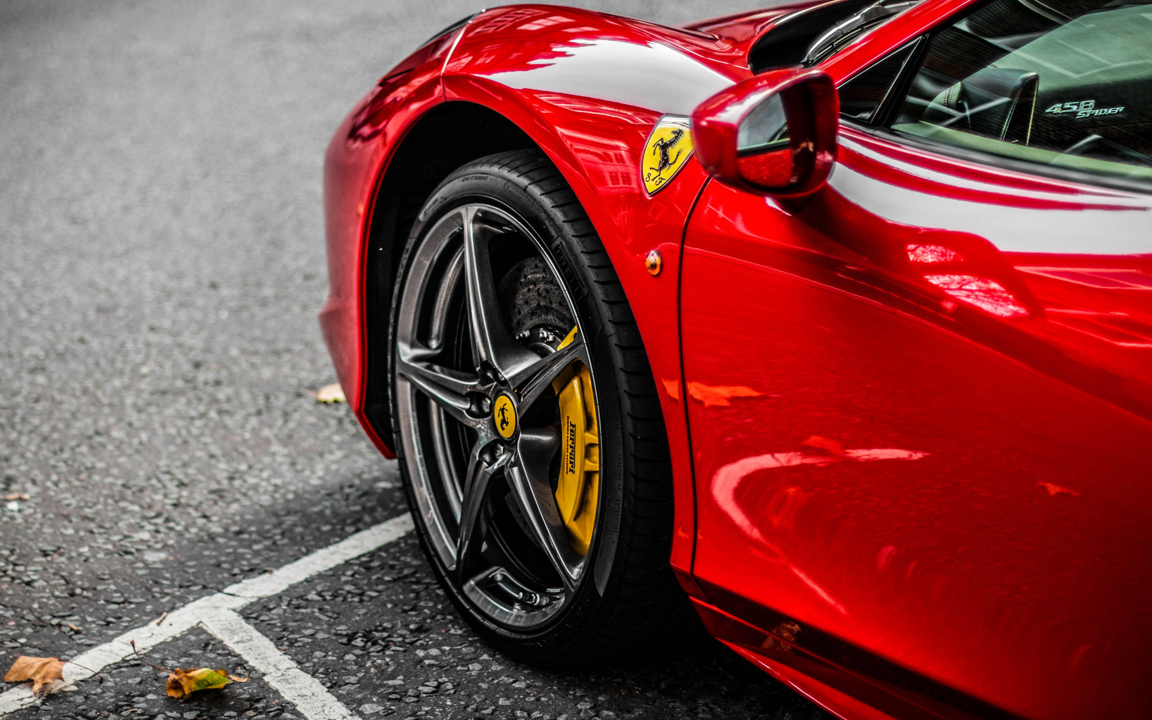 Download 3840x2400 wallpaper red supercar, ferrari, wheel ...