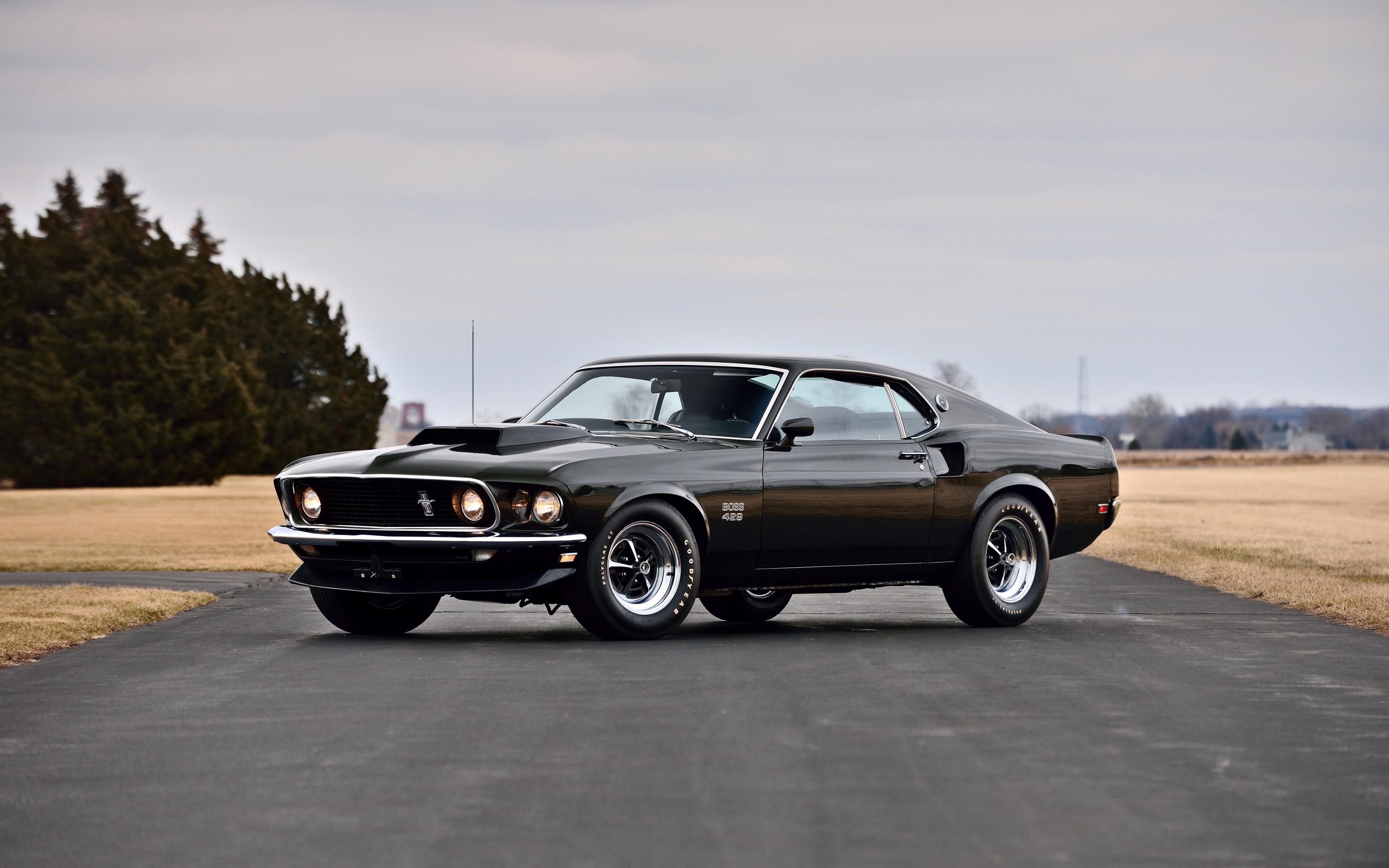 Download 3840x2400 Wallpaper Classic Black Muscle Car
