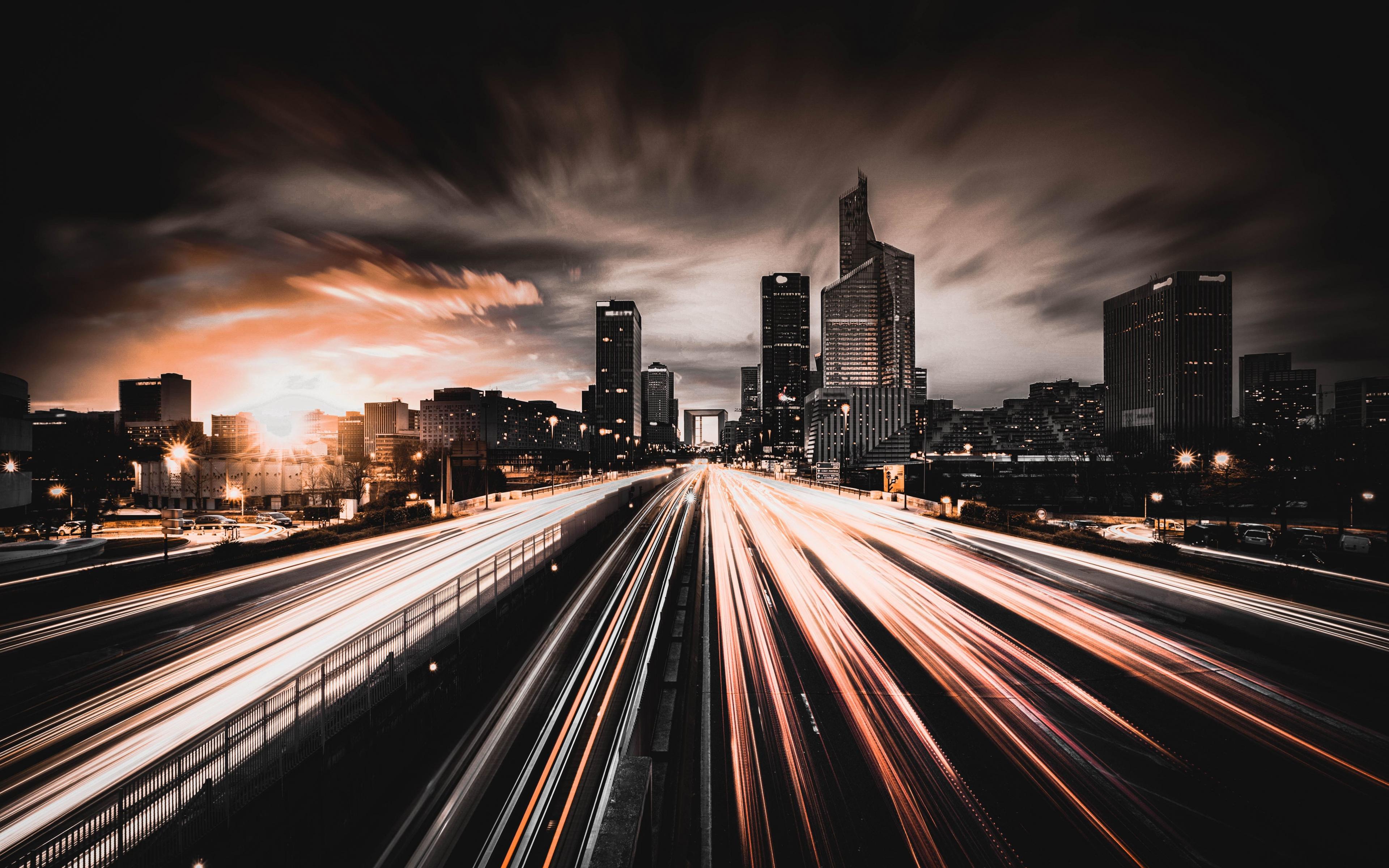 Download 3840x2400 wallpaper city night traffic lights - Night light city wallpaper ...
