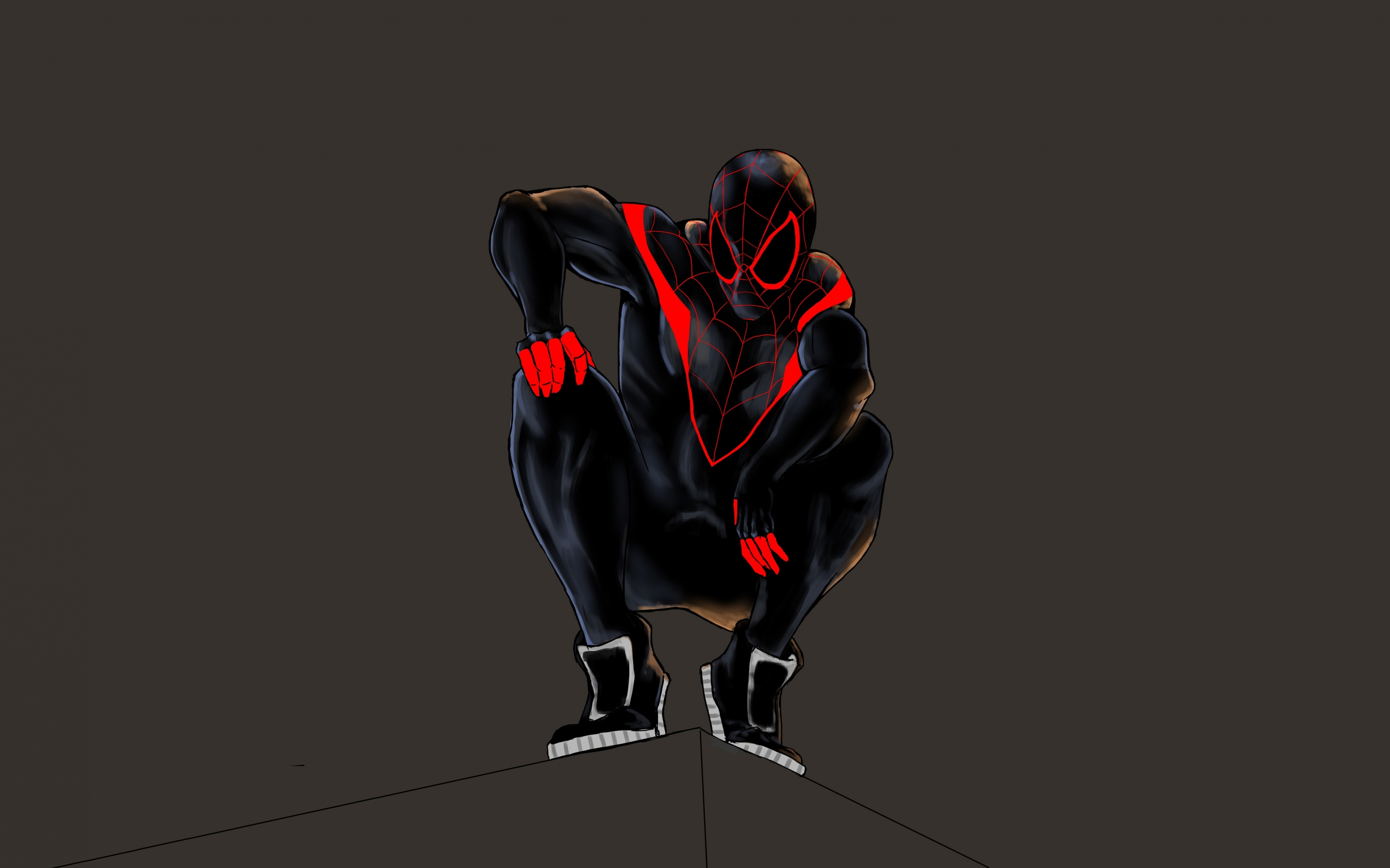 Download 3840x2400 Wallpaper Black Spider Man Minimal