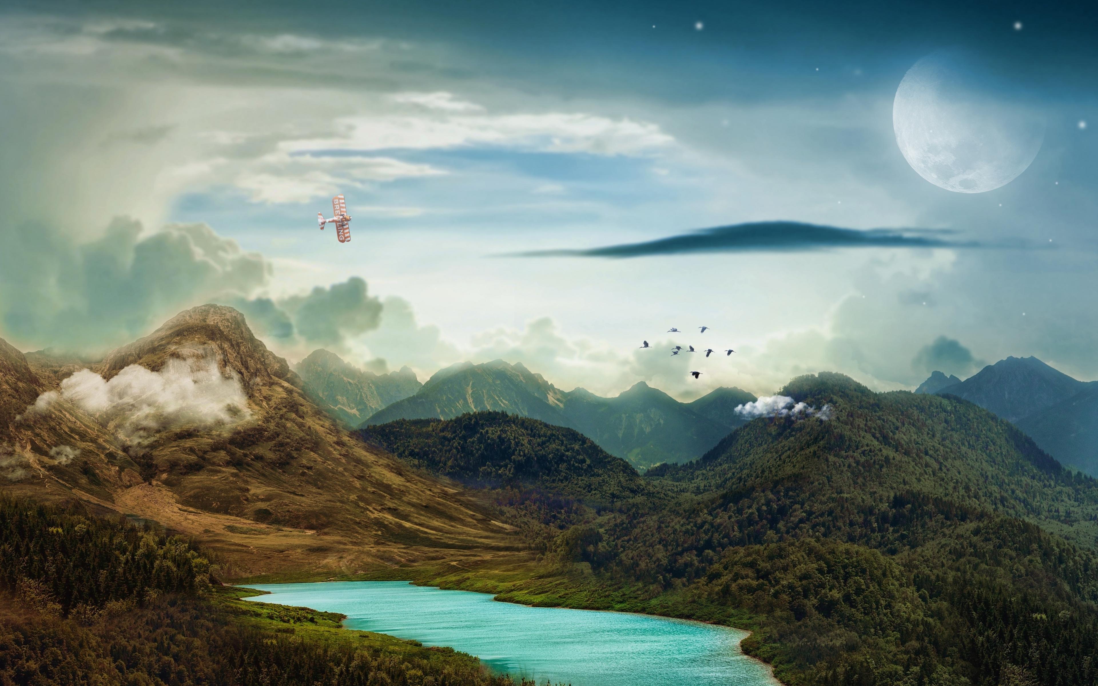 Download 3840x2400 Wallpaper Landscape, Mountains, Moon
