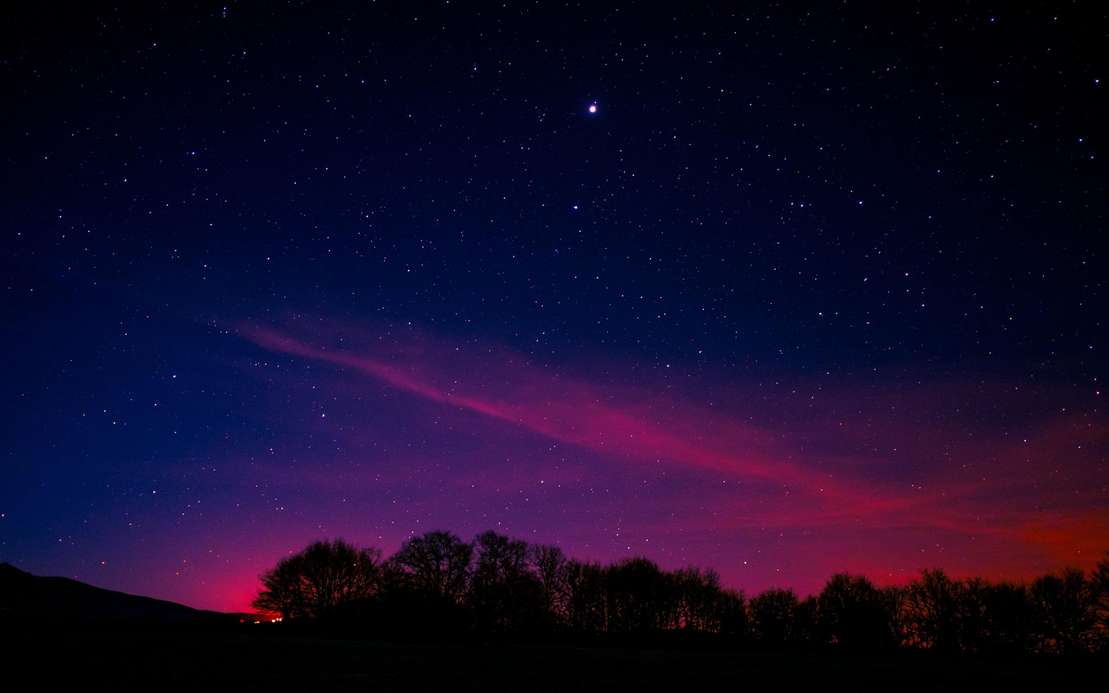 Download 3840x2400 Wallpaper Blue Pink Sky Starry Night Nature 4k