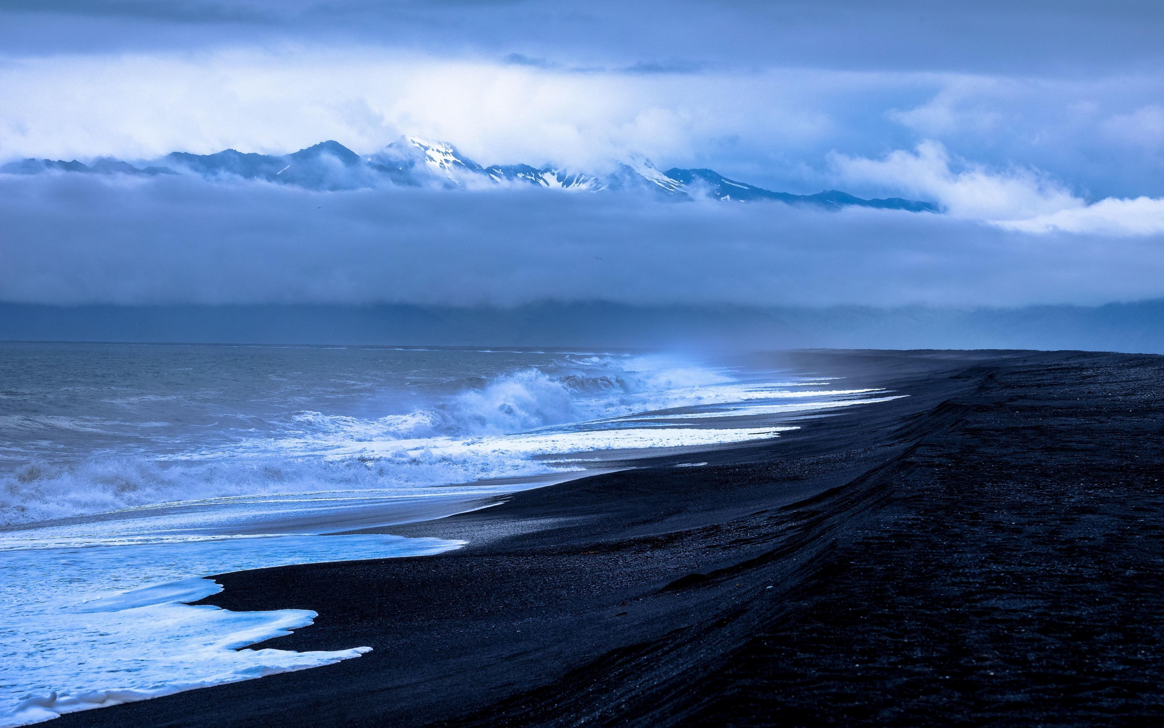 Download 3840x2400 Wallpaper Black Beach Clouds Sea Waves Nature 4k Ultra Hd 16 10 Widescreen 3840x2400 Hd Image Background 18260
