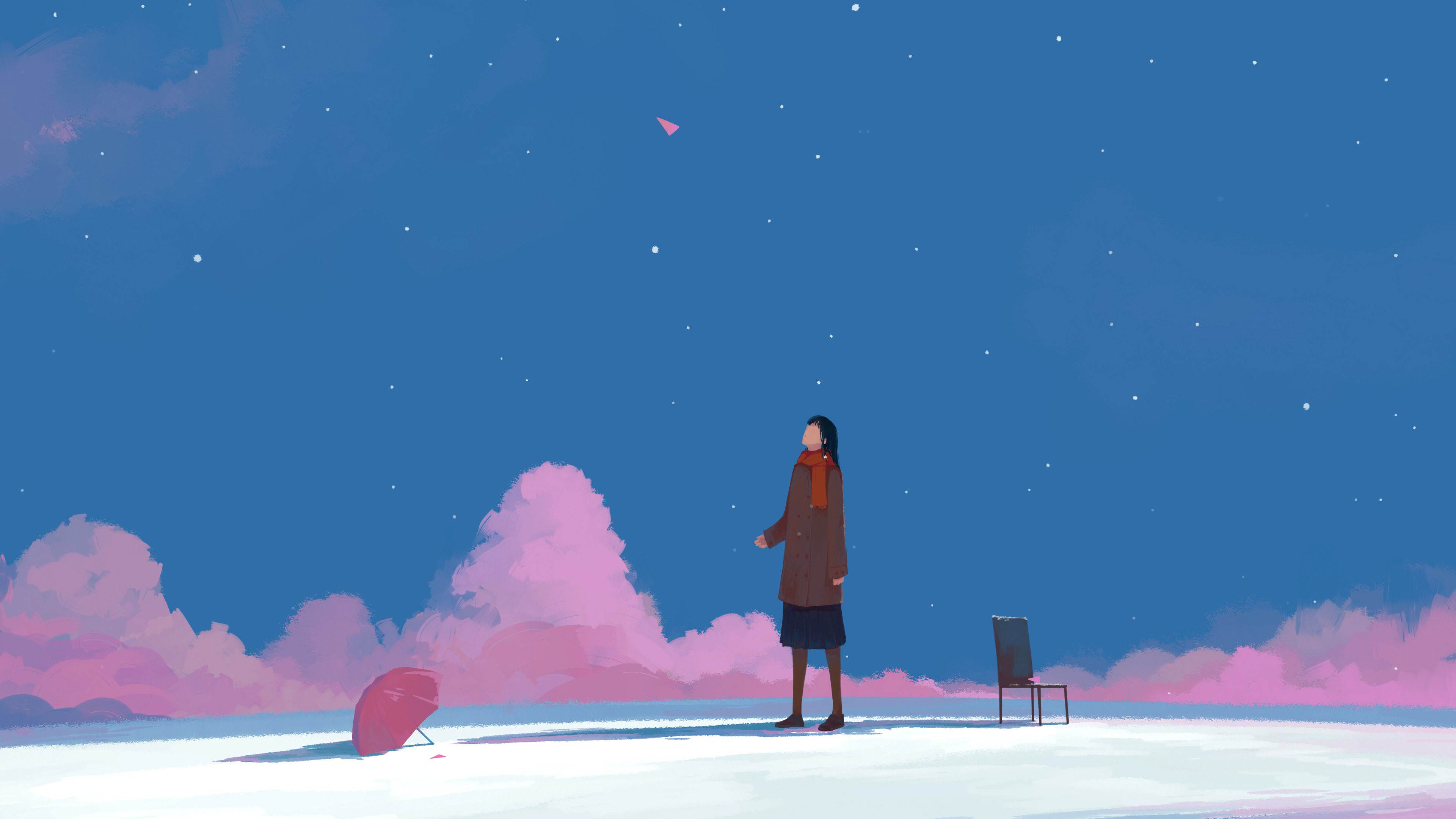 Download 3840x2400 Wallpaper Minimal Sky Clouds Anime