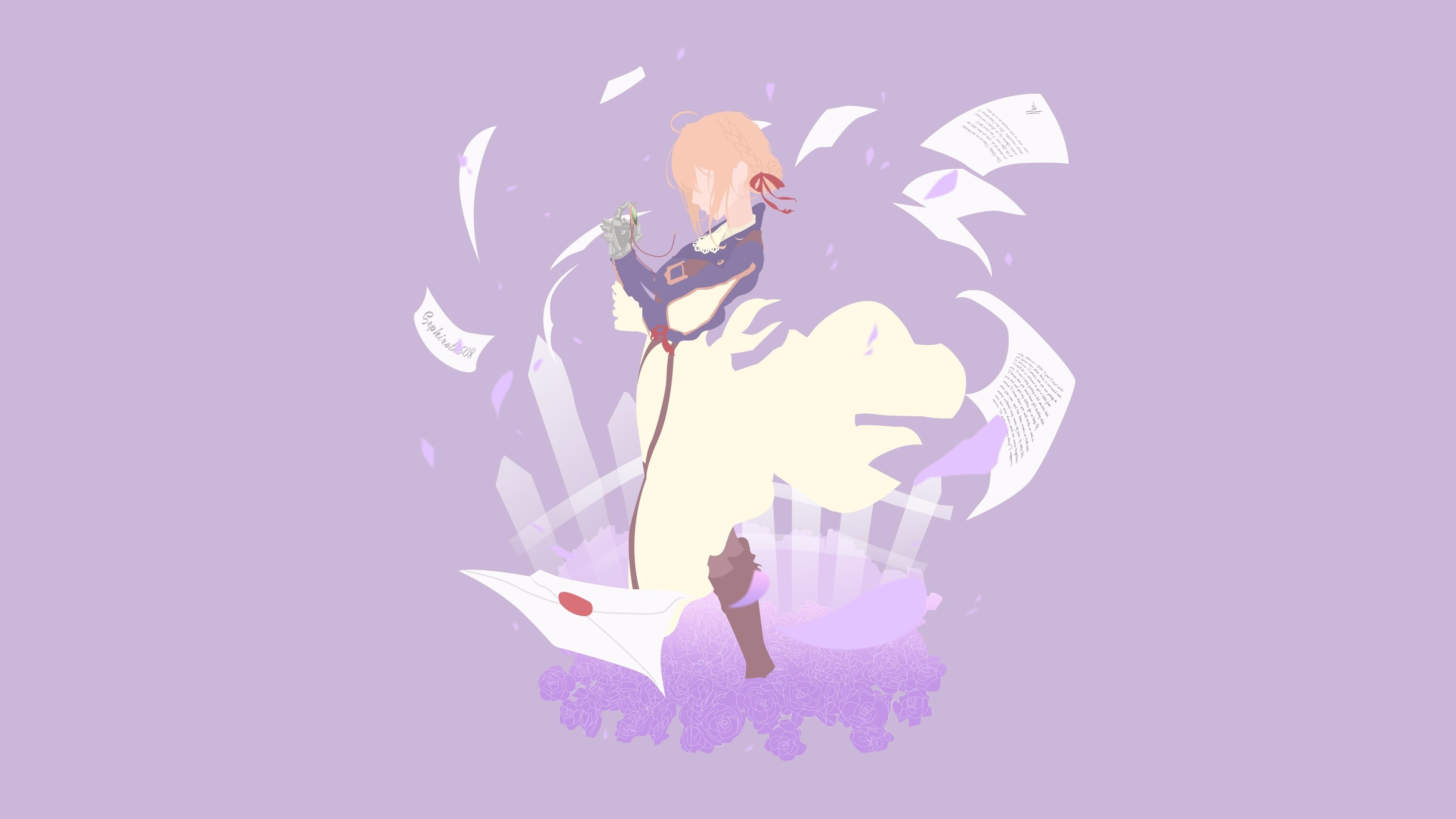 Download 3840x2400 Wallpaper Minimal Violet Evergarden