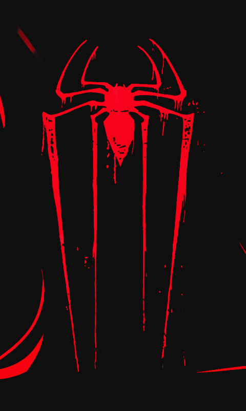 Logo, minimal, spider-man, dark, 480x800 wallpaper