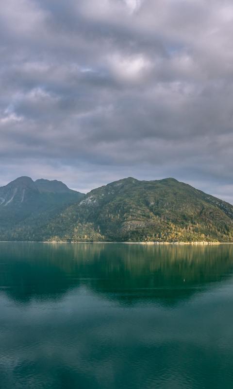 Alaska mountains, lake, clouds, 480x800 wallpaper