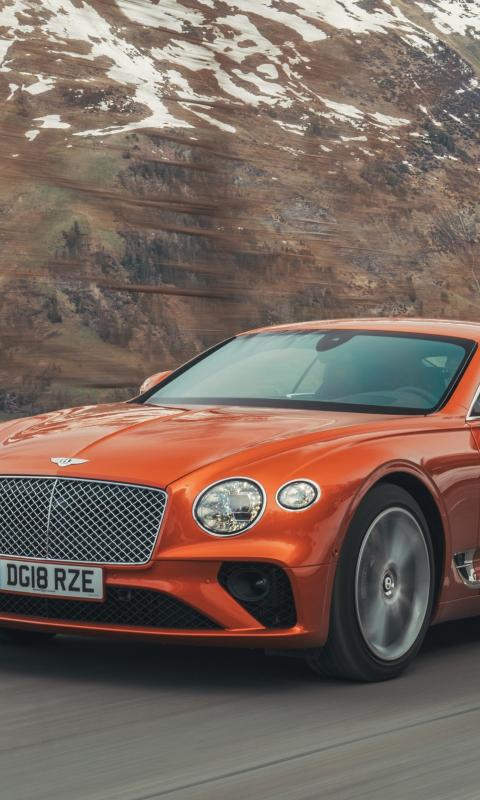 Orange, Bentley Continental GT, 480x800 wallpaper