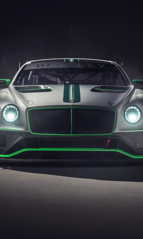 Bentley continental GT3, 2018 car, front, 480x800 wallpaper