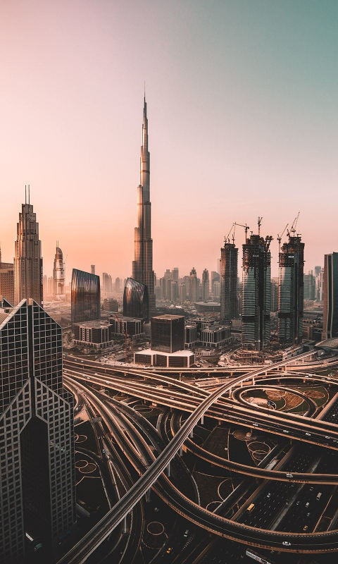 Dubai, skyline, cityscape, skyscrapers, buildings, Burj Khalifa, city, 480x800 wallpaper