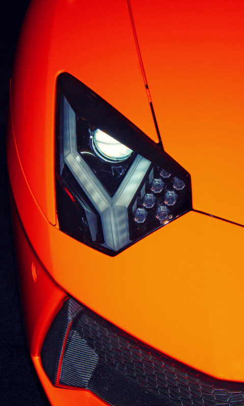 Exotic car, Lamborghini, headlight, 480x800 wallpaper