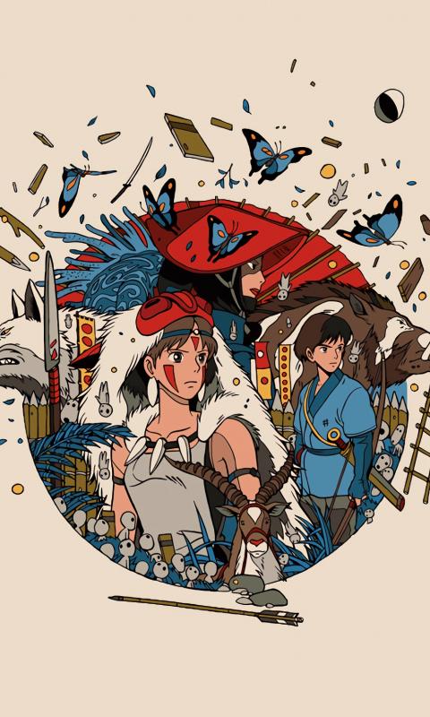 Minimal, anime, princess mononoke, 480x800 wallpaper