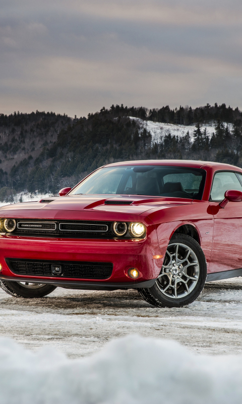Dodge challenger red muscle car
