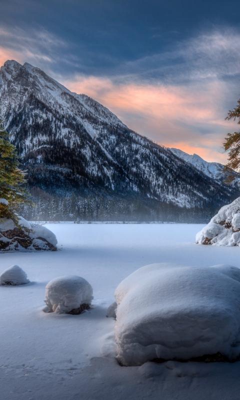 Landscape, mountains, winter, sunset, 480x800 wallpaper