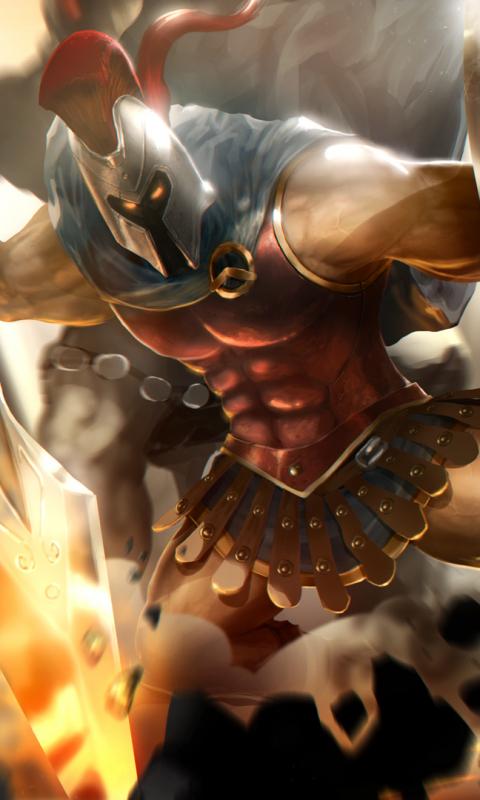 Pantheon League Of Legends Warrior 480x800 Wallpaper