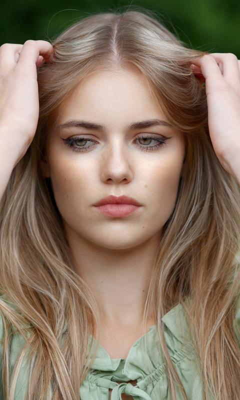 Pretty woman, blonde, model, beautiful, 480x800 wallpaper