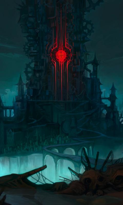 Download 480x800 Wallpaper Demon Castle Fantasy Dark Nokia X