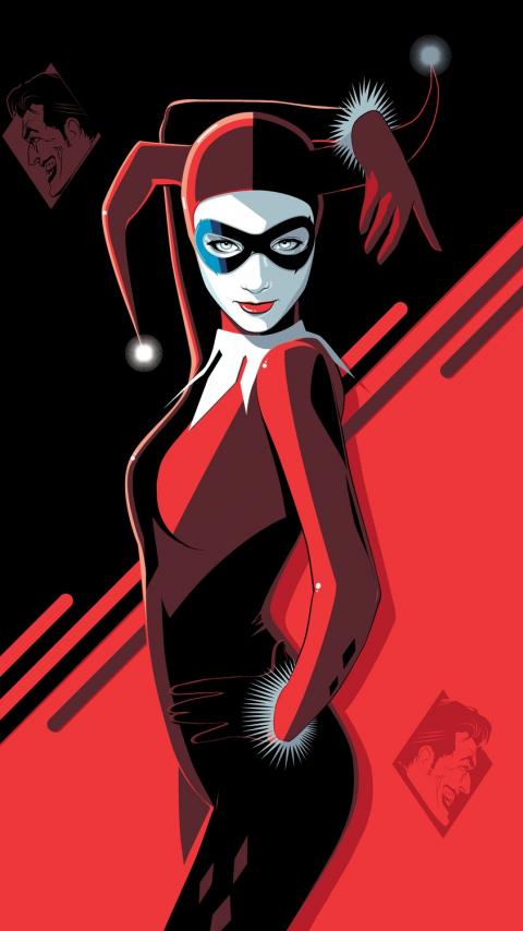 Harley Quinn, minimal, villain, minimal, art, 480x854 wallpaper