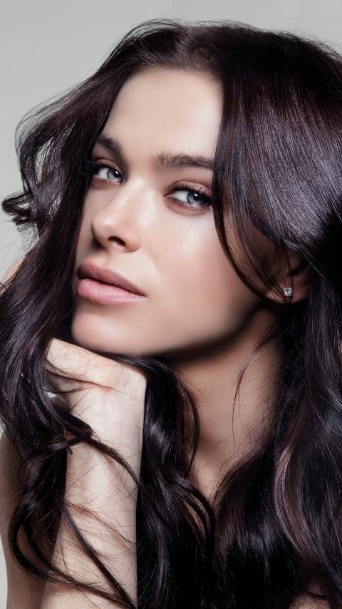 Celebrity, long hair, pretty, Elena Temnikova, 480x854 wallpaper