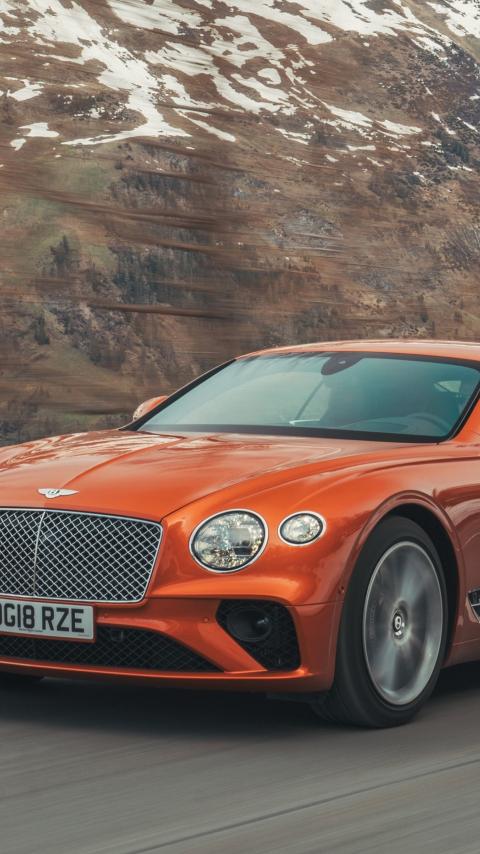 Orange, Bentley Continental GT, 480x854 wallpaper