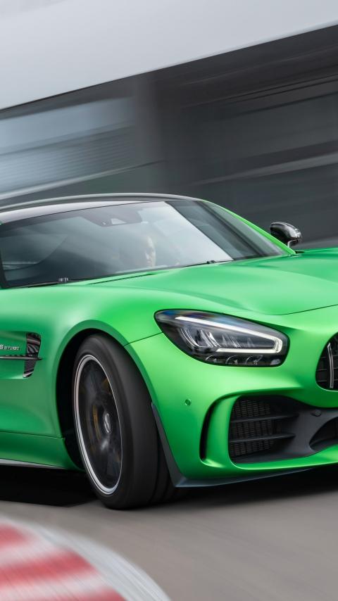 Mercedes-AMG GT, green car, on-road, 480x854 wallpaper