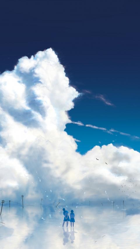Anime girls, outdoor, clouds, 480x854 wallpaper