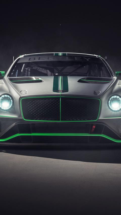 Bentley continental GT3, 2018 car, front, 480x854 wallpaper