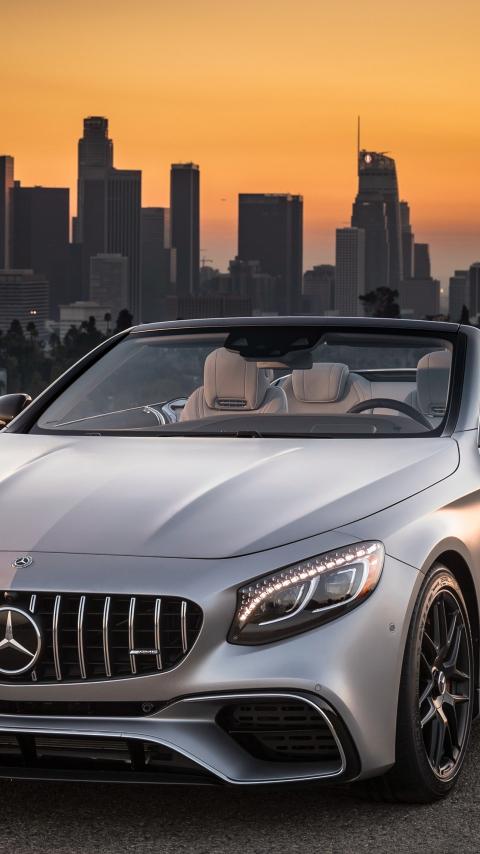 Mercedes-AMG S63 4MATIC Cabriolet, sports car, 480x854 wallpaper