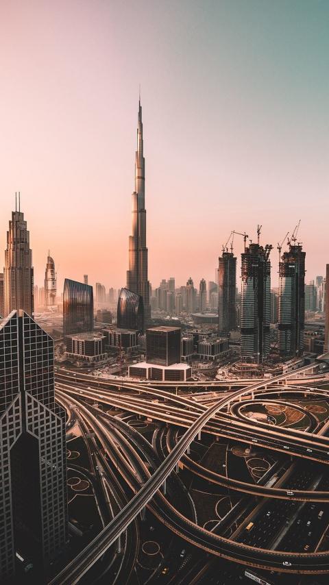 Dubai, skyline, cityscape, skyscrapers, buildings, Burj Khalifa, city, 480x854 wallpaper