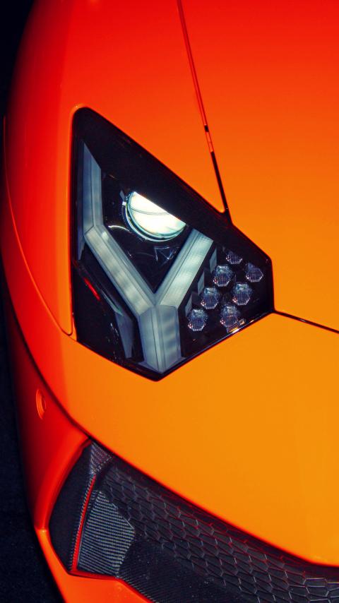 Exotic car, Lamborghini, headlight, 480x854 wallpaper