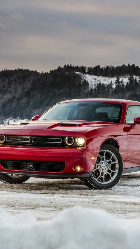 Dodge challenger, red muscle car, 480x854 wallpaper