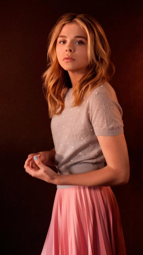 Actress, beautiful, Chloe Grace Moretz, portrait, 480x854 wallpaper