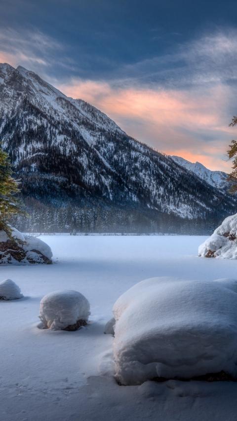 Landscape, mountains, winter, sunset, 480x854 wallpaper