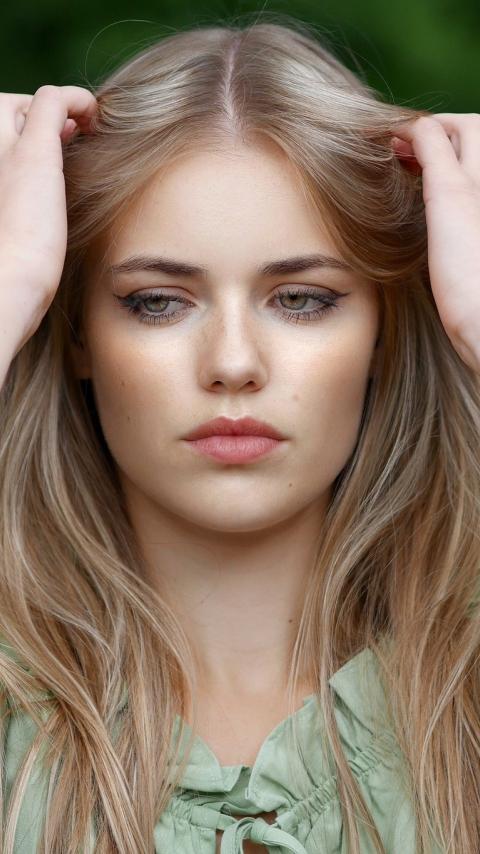 Pretty woman, blonde, model, beautiful, 480x854 wallpaper