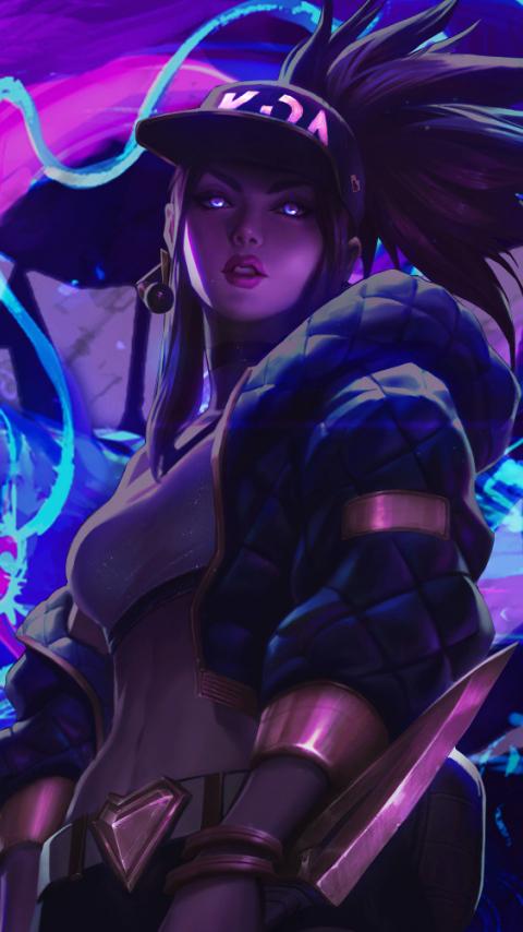 Neon art, League of Legends, Akali, art, 480x854 wallpaper