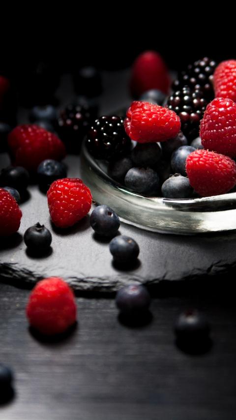 Dark mood, food, fruits, Raspberry, blueberry, Blackberry, 480x854 wallpaper