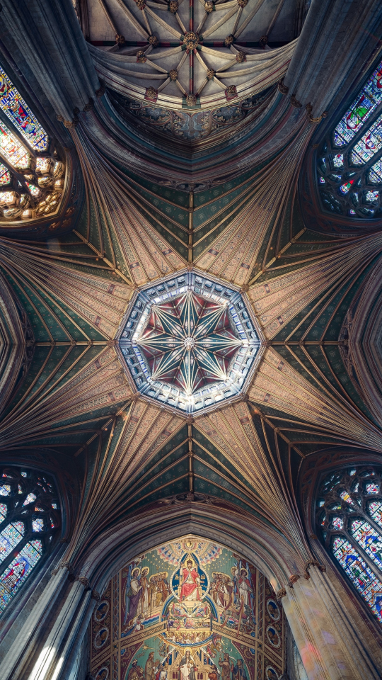 Ceiling, cathedral, symmetrical interior, architecture, 540x960 wallpaper