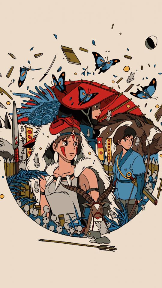 Minimal, anime, princess mononoke, 540x960 wallpaper