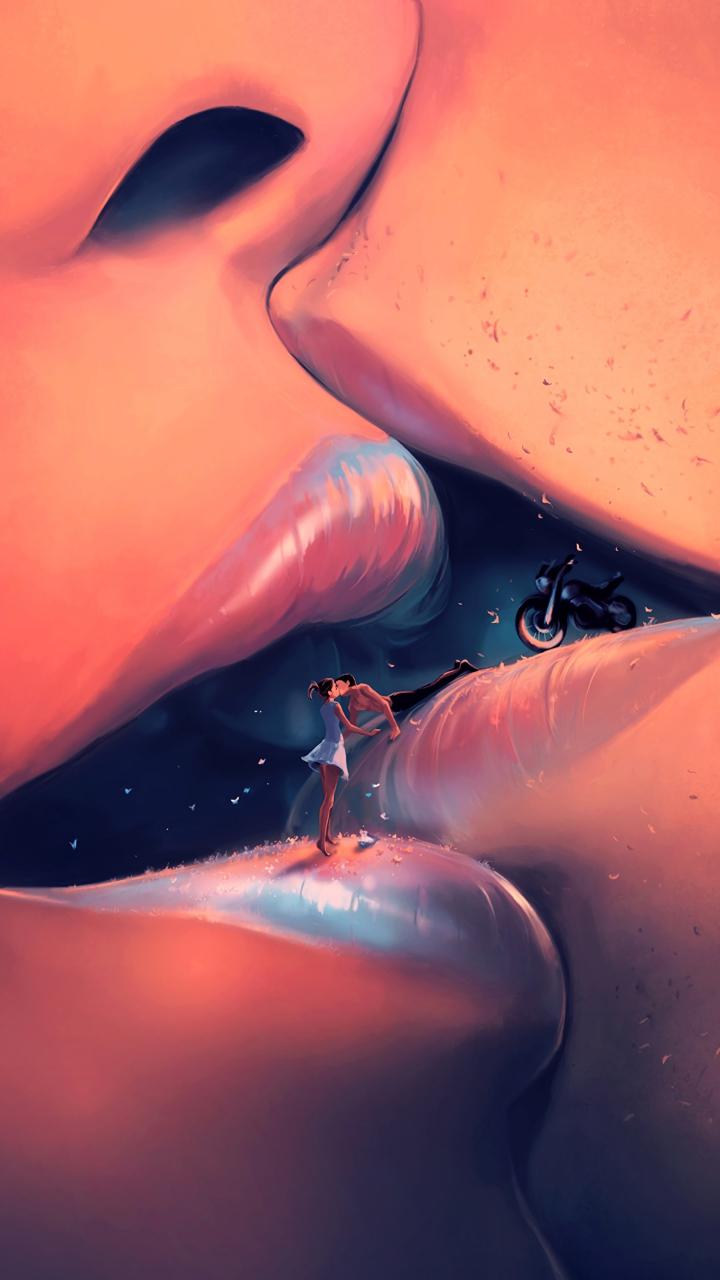 Couple, Kiss, Lips, Fantasy, Art, 720x1280 Wallpaper