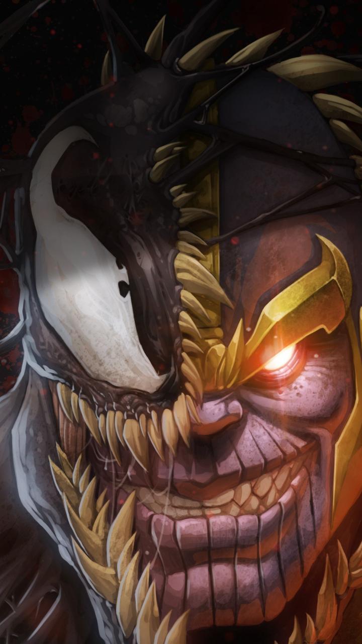 download 720x1280 wallpaper artwork  marvel  thanos and venom  samsung galaxy mini s3  s5  neo