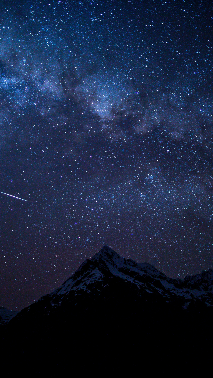 Starry sky, night, mountains, nature, 720x1280 wallpaper