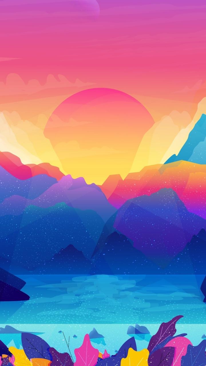 Sun Mountains Gradient Colorful Art 720x1280 Wallpaper