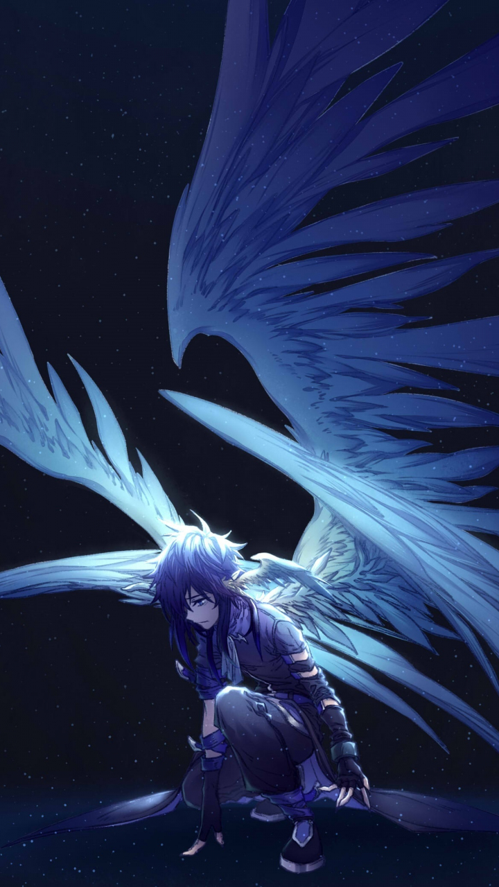 Download 720x1280 wallpaper dark, big wings, angel ...