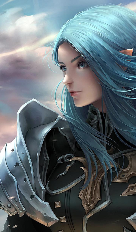 Blur Hair, Girl Warrior, Fantasy, Art, 720x1280 Wallpaper