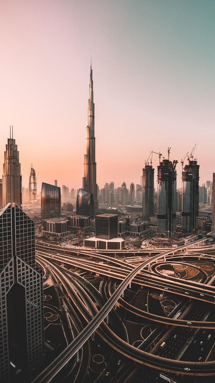 download 720x1280 wallpaper dubai, skyline, cityscape, skyscrapers