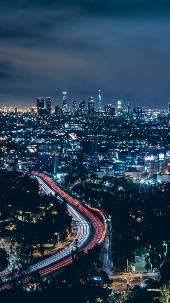 Los Angeles, city, skyscrapers, night, 720x1280 wallpaper
